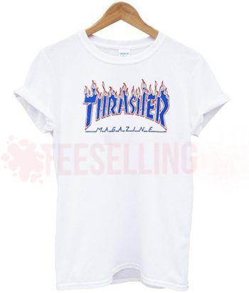 Thrasher flame blue T Shirt Adult Unisex