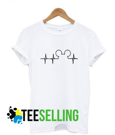 11d12e35 MICKEY MOUSE HEARTBEAT T SHIRT ADULT UNISEX